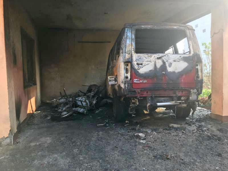 Two bikes and a four-wheeler were gutted in the fire. Photo: Ignatius Rai/Facebook