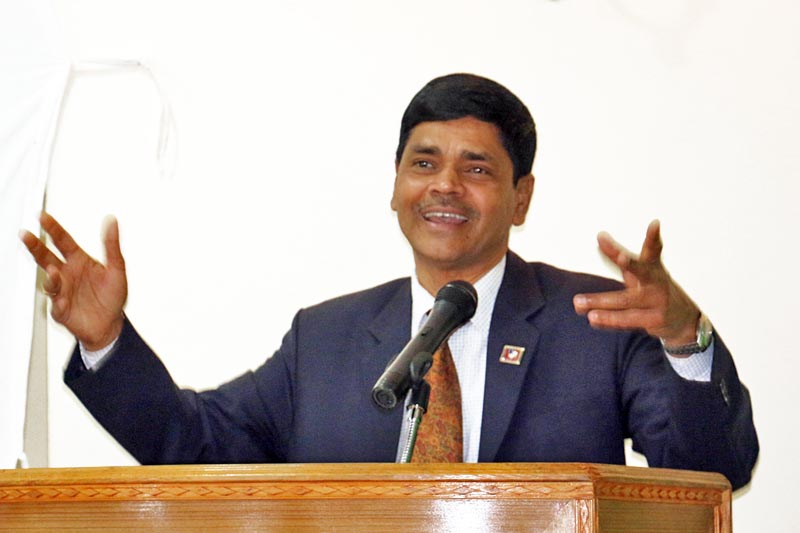 Chief Election Commissioner Ayodhee Prasad Yadav speaks at a programme in Kavre, on Monday, April 10, 2017. Photo: RSS