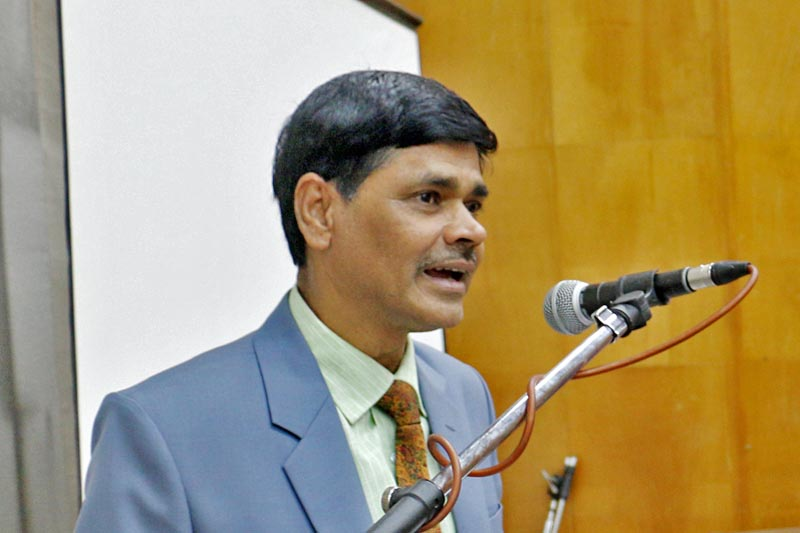 Chief Election Commissioner Ayodhee Prasad Yadav speaks at a programme in Kathmandu, April 16, 2017. Photo: RSS