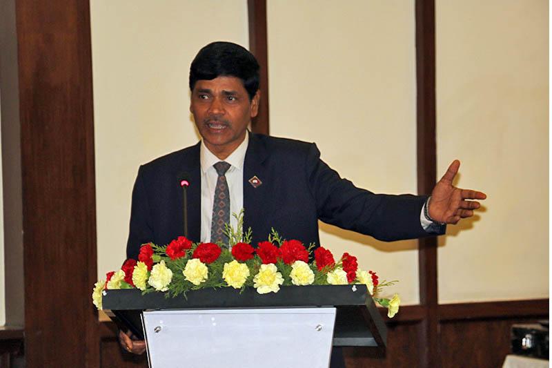 Election Chief Commissioner Dr. Ayodhee Prasad Yadav speaks at a programme in Kathmandu, on Sunday, April 30, 2017. Photo: RSS