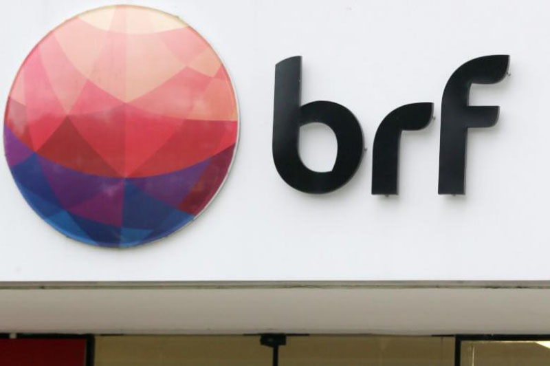A meatpacking company BRF SA's logo is pictured in Sao Paulo, Brazil, on March 17, 2017. Photo: Reuters