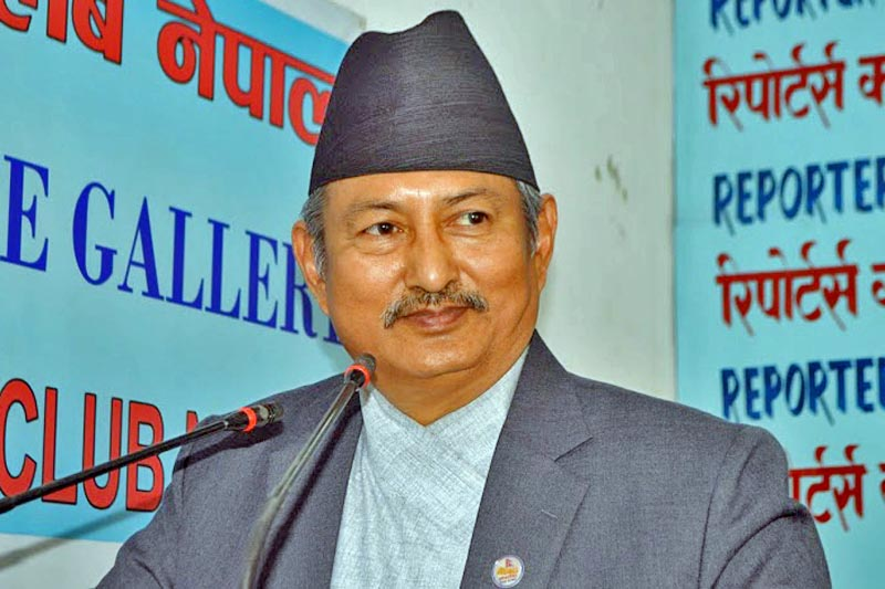 Minister for Defence Bal Krishna Khand speaks at a programme organised by Reporters Club in Kathmandu, on Wednesday, April 26, 2017. Courtesy: Reporters Club