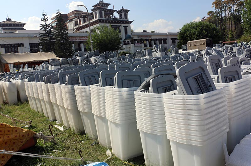 Ballot boxes for the upcoming local level elections lying at the Election Commission central office, in Kathmandu, non Monday, April 24, 2017. Photo: RSS