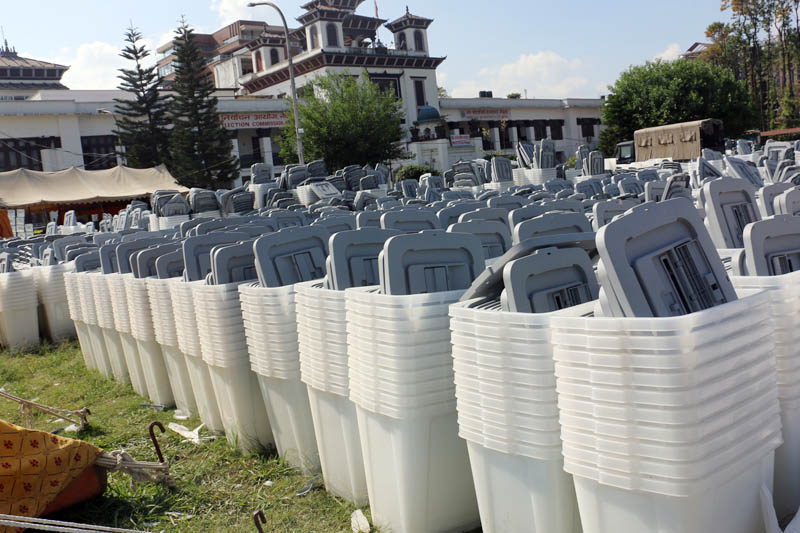 Ballot boxes stored at the Premises of the Election Commission for the upcoming May 14 local level elections,  in Kathmandu, on Monday, April 24, 2017. Photo: RSS
