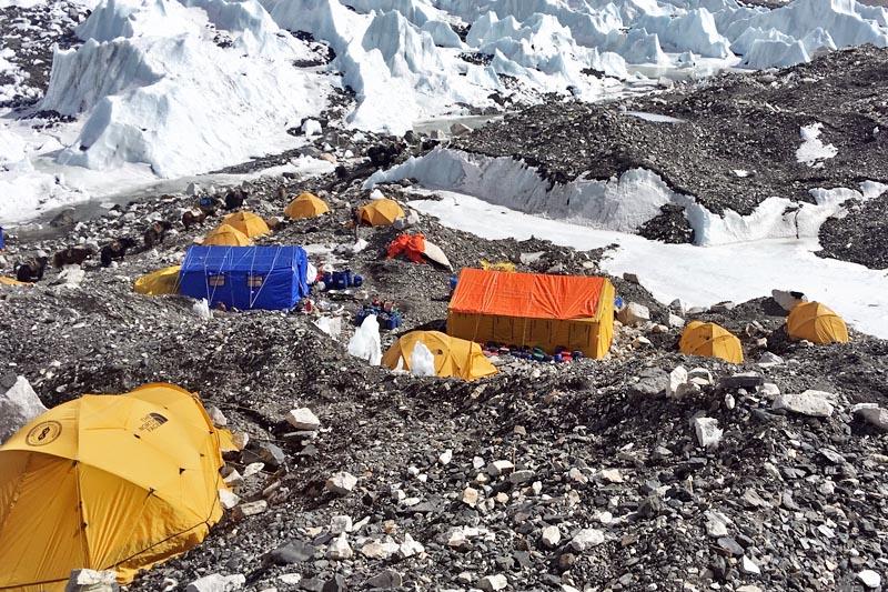 Base camp being set up to host the world climbers to acclimatise in the Khumbu region. Courtesy: Nima Gyalzen Sherpa