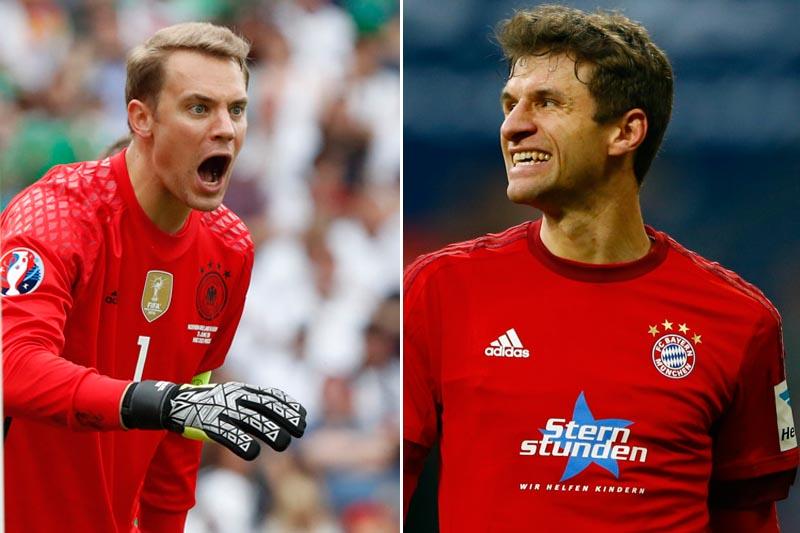 Bayern Munich's Manuel Neuer (left) and Thomas Muller. Photos: Reuters