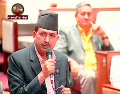 FILE - CPN-UML Chief Whip Bhanu Bhakta Dhakal speaks