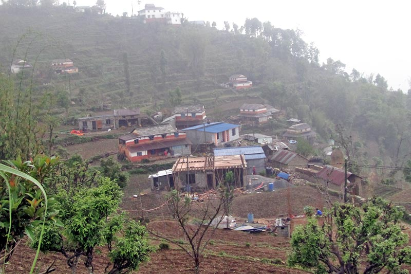 A view of a Bhujel village in Kaskikot of Kaski district, as captured on Sunday, April 23, 2017. Locals have started a homestay service for tourists visiting the area. Photo: Rishi Ram Baral