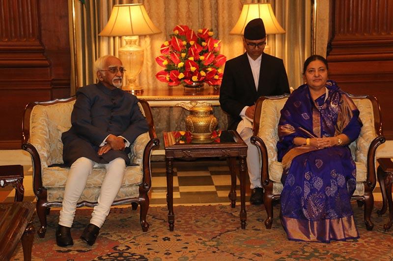 Vice-President of India Mohammad Hamid Ansari (left) pays courtesy call on Nepal's President Bidya Devi Bhandari in New Delhi, India, on Tuesday, April 18, 2017. Photo: RSS