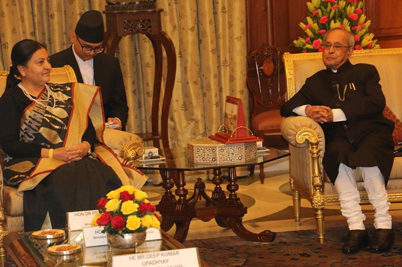 Indian President Pranab Mukherjee (right) pays courtesy call on his Nepali counterpart Bidya Devi Bhandari in New Delhi, India, on Tuesday, April 18, 2017. Photo: RSS