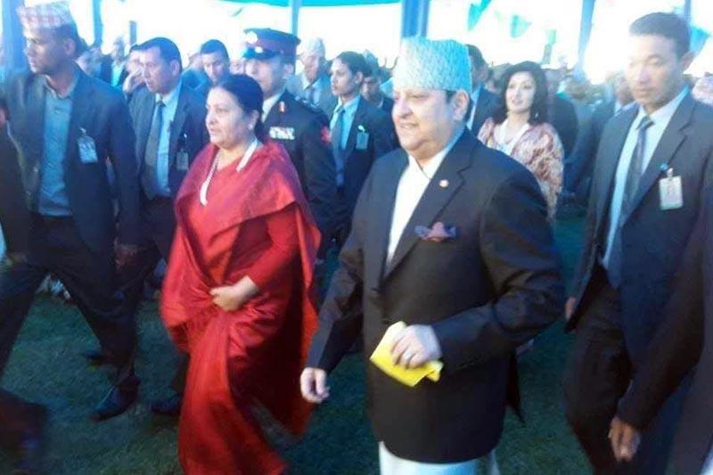 President Bidya Devi Bhandari is received by former King Gyanendra Shah on the occasion of his grandson Hridayendra's bratabandha, at Hotel Soaltee in Kathmandu, on Thursday, April 6, 2017. Photo: RSS