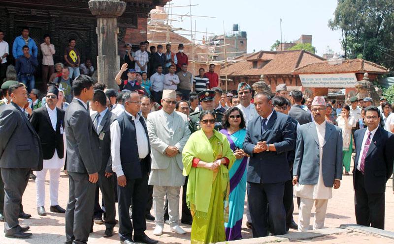 President Bidya Devi Bhandari inspects Bhaktapur Darbar Square in Bhaktapur on Tuesday, April 25, 2017. Photo: RSS