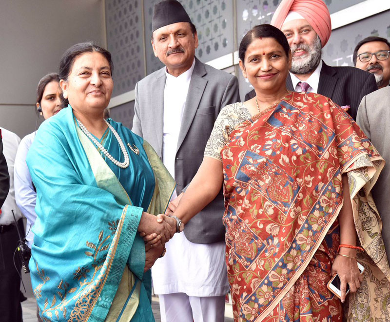Indiau2019s Minister of State for Women and Child Development Krishna Raj receives President Bidya Devi Bhandari, who is on a five-day state visit to India, on Monday, April 17, 2017. Photo Courtesy: Gopal Baglay