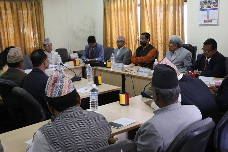 Minister for Home Affairs Bimalendra Nidhi and Chief Election Commissioner Ayodhee Prasad Yadav at the meeting of State Affairs Committee under the Legislative Parliament on April 16, 2017. Photo: RSS