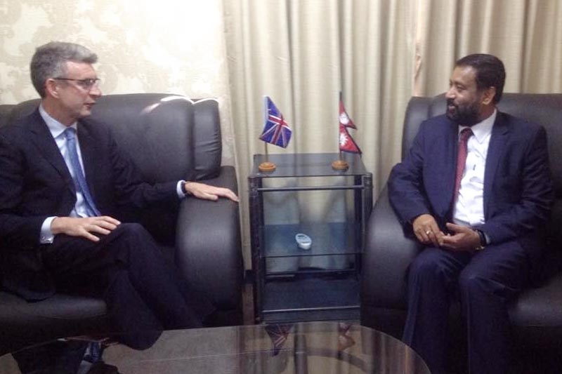British Ambassador Richard Morris (left) called on Nepal's DPM Bimalendra Nidhi at the latter's office in Singha Durbar, Kathmandu, on Tuesday, April 4, 2017. Photo: Ramjee Dahal