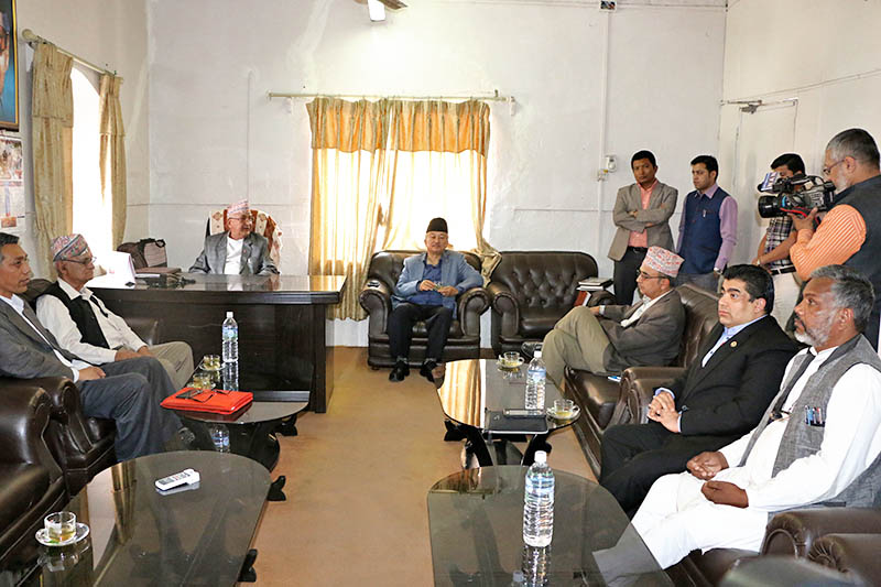 Main opposition party CPN-UML Chairman holds meeting with the nine party-alliance leaders at the UML party's parliamentary office in Singha Durbar, Kathmandu, on Thursday, April 27, 2017. Photo: RSS