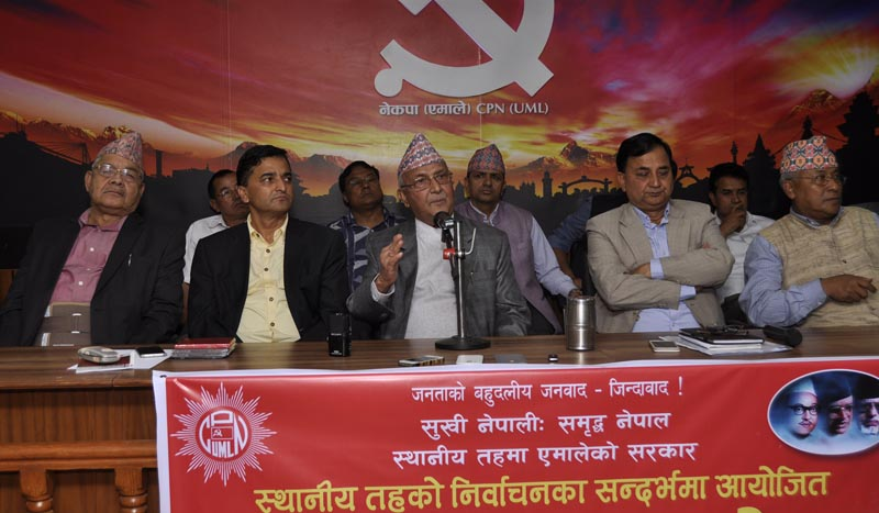 CPN-UML Chair KP Sharma Oli speaking at national election campaign assembly at central party office in the Capital on April 27, 2017. Photo: RSS