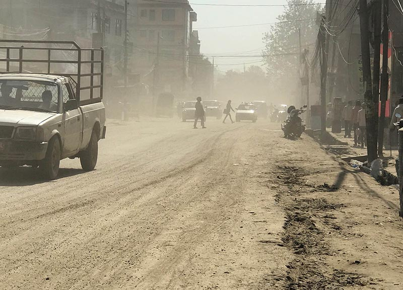 The condition of the Chabahil-Mulpani road stretch, in Kathmandu, on Tuesday, April 25, 2017. Delay in repair of the roads dug up for laying water pipelines has increased dust pollution and caused great inconvenience to motorists and pedestrians in the Kathmandu Valley.  Photo: Skanda Gautam/THT