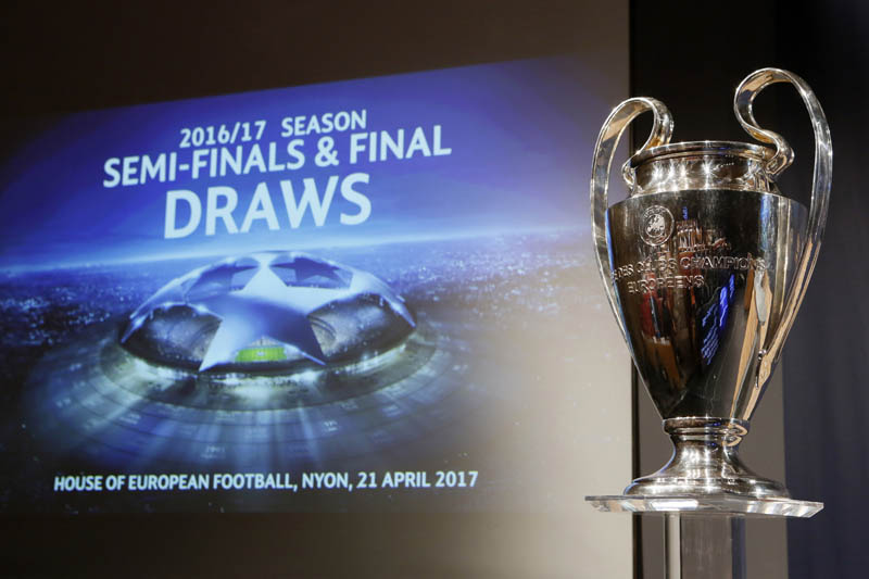 The UEFA Champions League trophy is pictured before the draw of the semi finals. Photo: Reuters