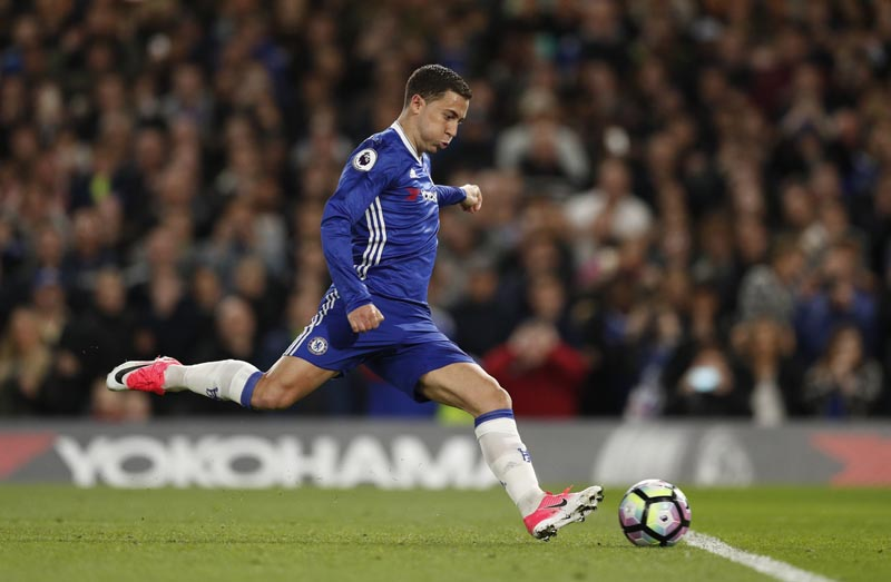 Chelsea's Eden Hazard has his penalty saved before scoring their second goal. Photo: Reuters