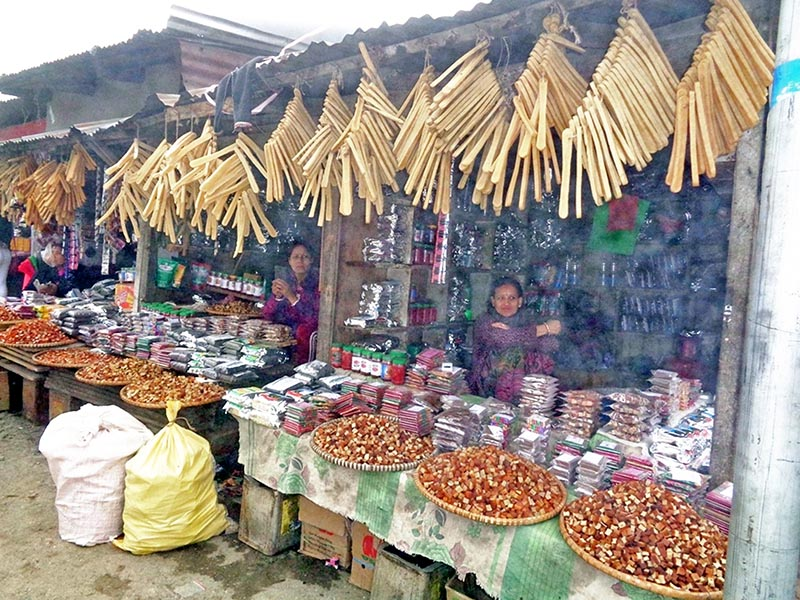 Vendors wait costumers at their chewing cheese (Churrpi) shops in Fikal bazzar of Suryadaya Municipality in Ilam district, on Tuesday, April 25, 2017. Photo: RSS