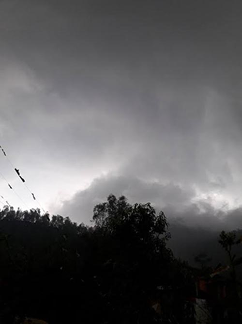 A view of clouds before it started raining with hailstoned, in Far-Western Nepal, on Friday, April 7, 2017.Photo: Tekendra Deuba