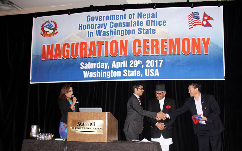 The inauguration ceremony of the Honorary Consulate Office in the Washington state of the United States of America, on .. Photo Courtesy: AC Sherpa