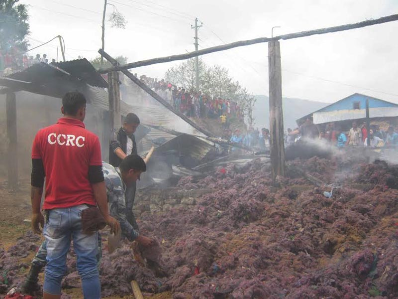 A fire destroys Devisthan Cotton Industry belonging to Rajan Khadka in Diktel of Khotang, district, on Tuesday, April 18, 2017. Photo: THT
