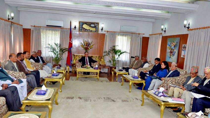 Prime Minister Pushpa Kamal Dahal (centre) chairs a joint meeting of the ruling coalition, the Election Commission and the Federal Alliance at the PM's official residence in Baluwatar, Kathamanu on April 24, 2017. Photo: PM's Secretariat