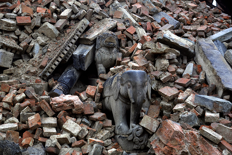 FILE- In this April 29, 2015 file photo, debris lies on the ground at Bhaktapur Durbar Square, a UNESCO World Heritage Site, after the April 25 massive earthquake, on the outskirts of Kathmandu. Photo: AP