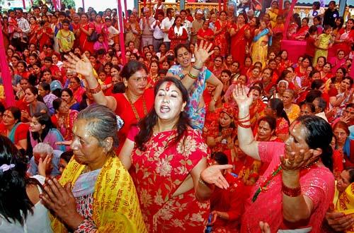 File-Devotees singing and dancing in Ram Mandir while celebrating Ram Nawami at Gaushala in Kathmandu on Wednesday, March 24, 2010. Photo: THT