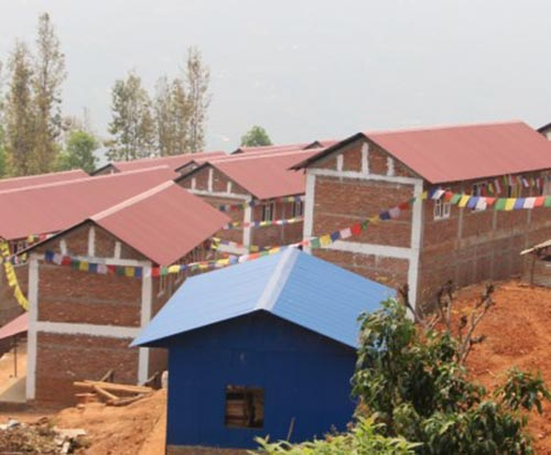 A view of earthquake-resistant model houses constructed for quake victims at Bhuwalepani of Dhola, in Dhading, on Wednesday, April 19, 2017. Photo: THT