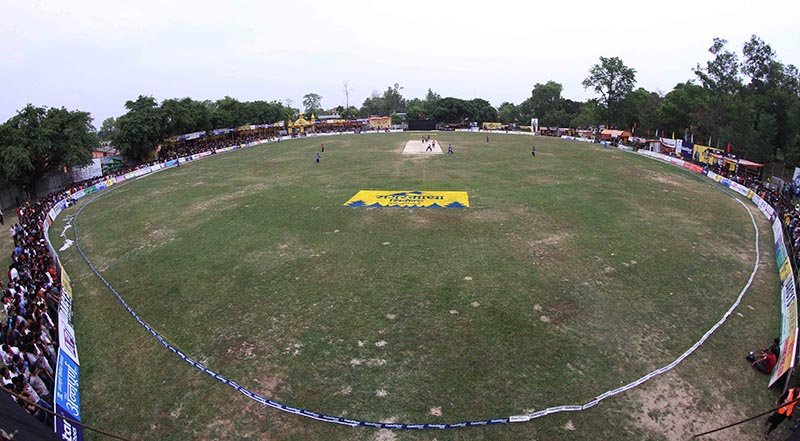 A view of cricket pitch during the Dhangadhi Premier League cricket tournament final match between Team Chauraha Dhangadhi and Biratnagar Kings at Dhangadhi SSP Cricket Ground.