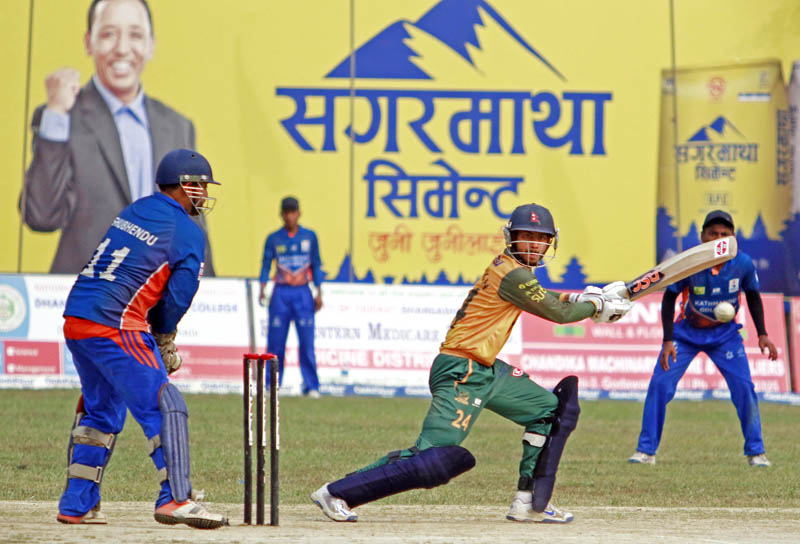 Team Chauraha Dhangadhi batsman looks on as he plays a shot to third man during the Dhangadhi Premier League, in Dhangadhi, on Wednesday, April 19, 2017. Photo: THT
