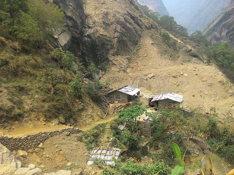 A view of houses under the risk of landslides in Dolakha district, on Tuesday, April 18, 2017. Photo: THT