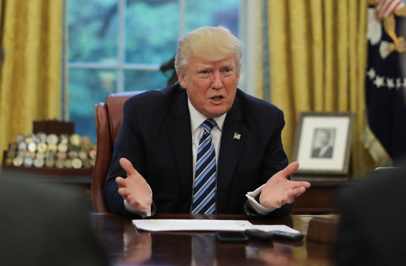 US President Donald Trump speaks during an interview with Reuters in the Oval Office of the White House in Washington, US, on April 27, 2017. Photo: Reuters