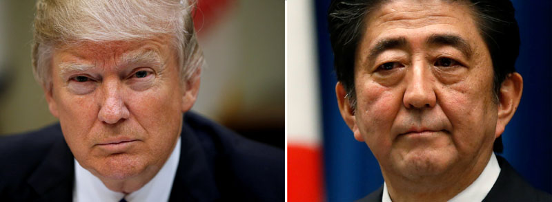 File - A combination of file photos show US President Donald Trump (left) in Washington on March 1, 2017 and Japan's Prime Minister Shinzo Abe in Tokyo on November 18, 2014 . Photo: Reuters