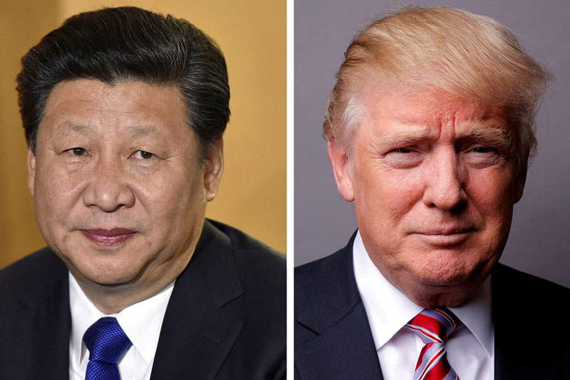 File - A combination of file photos showing Chinese President Xi Jinping (left) at London's Heathrow Airport, on October 19, 2015 and US President Donald Trump posing for a photo in New York City, US, May 17, 2016. Photos: Reuters