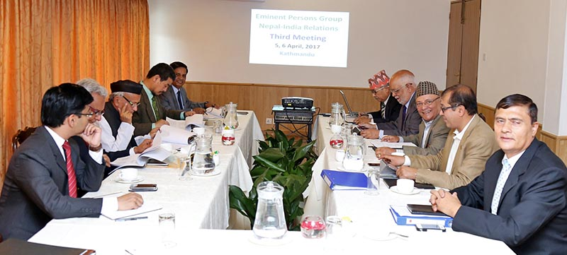 Members of the Eminent Persons Group on Nepal-India Relations attend the third meeting, in Kathmandu, on Wednesday, April 5, 2017. Photo: RSS