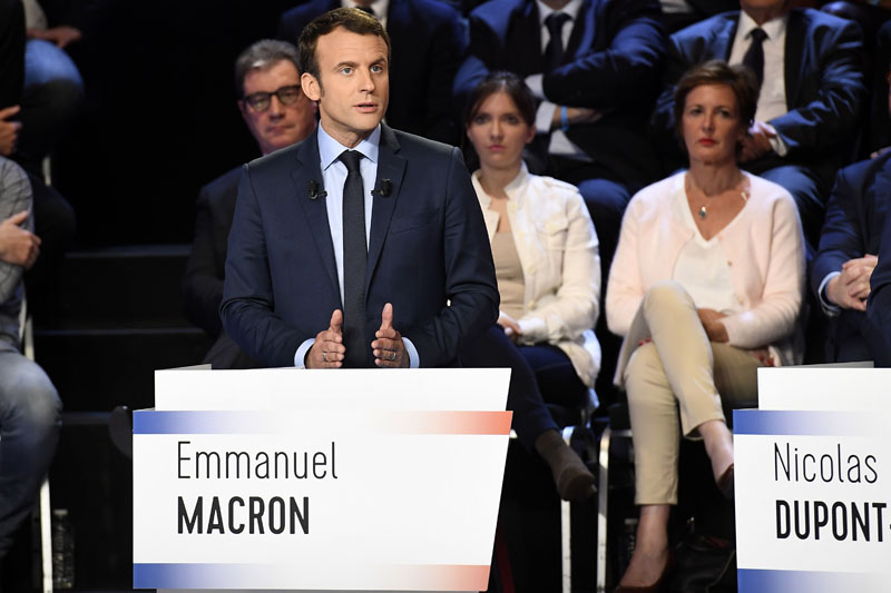Emmanuel Macron of the political movement En Marche ! (Onwards !) attends a prime-time televised debate for the candidates at French 2017 presidential election in La Plaine Saint-Denis, near Paris, France, on April 4, 2017. Photo: Reuters