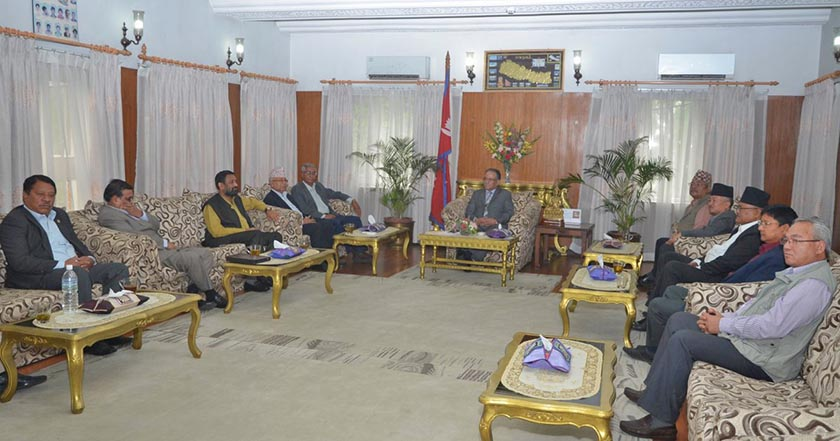 Pushpa Kamal Dahal holding a meeting with leaders of five major parties at Baluwatar, Kathmandu. Courtesy: PM Secretariat