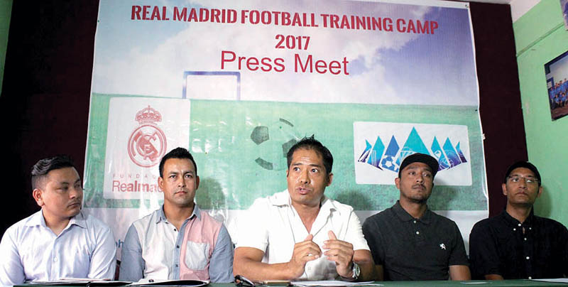 Officials of Subharambh Education and Sports Tour Pvt Ltd at a press meet in Kathmandu, on Tuesday. Photo: THT