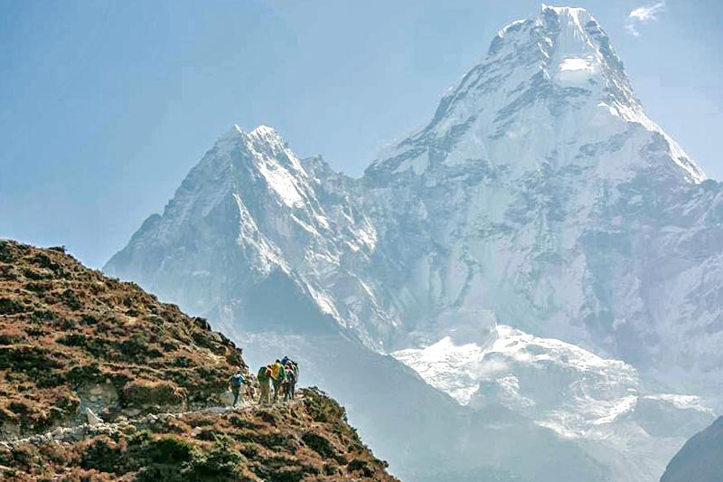 FILE: Climber hike towards Ama Dablam to near upper Pangboche, for acclimatisation the Mt Everest, in April 2017. Photo: Ben Jones/Facebook