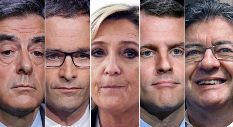 A combination picture shows five candidates for the French 2017 presidential election, from L-R, Francois Fillon, the Republicans political party candidate, Benoit Hamon, French Socialist party candidate, Marine Le Pen, French National Front (FN) political party leader. Photo: Reuters/File