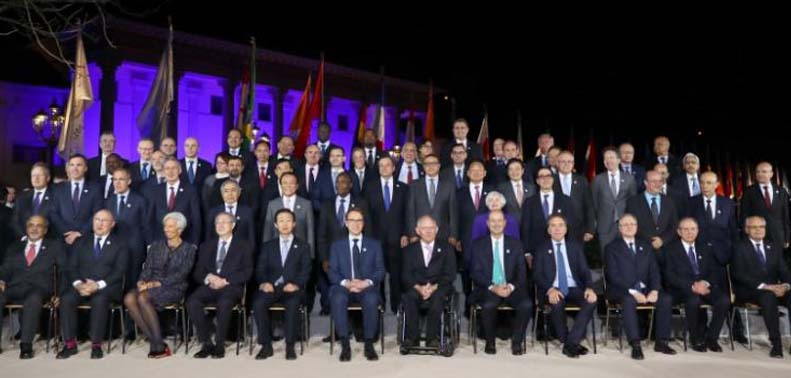 Family picture during the G20 Finance Ministers and Central Bank Governors Meeting in Baden-Baden, Germany, on March 17, 2017. Photo: Reuters