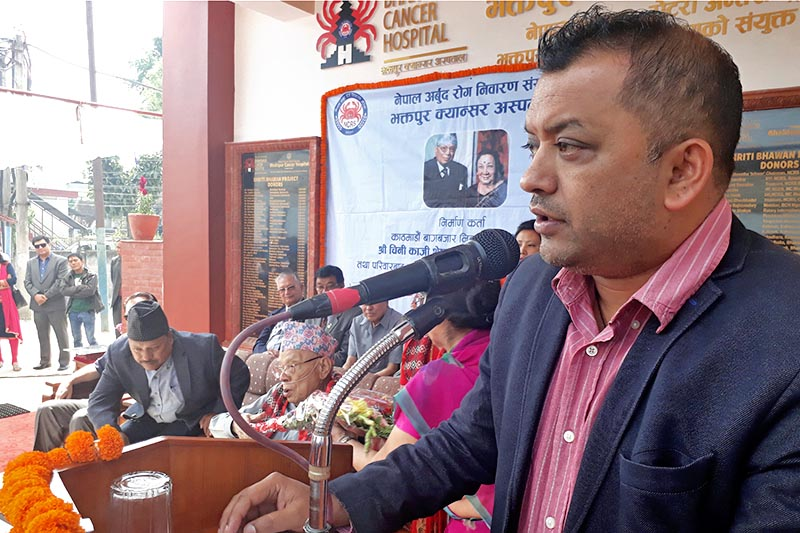 Minister for Health Gagan Kumar Thapa speaks at a programme in Bhaktapur, on Monday, April 17, 2017. Photo: RSS