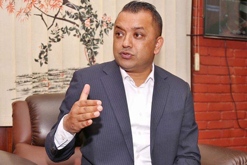Minister for Health Gagan Kumar Thapa speaks to media in Kathmandu, on Thursday, April 13, 2017. Photo: RSS