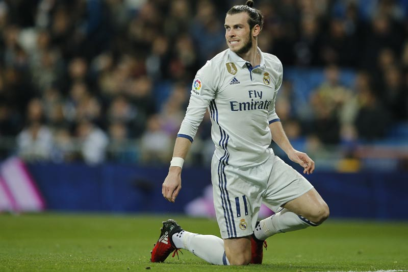 FILE - In this file photo dated Wednesday March 1, 2017, Real Madrid's Gareth Bale reacts during a Spanish La Liga soccer match between Real Madrid and Las Palmas at the Santiago Bernabeu stadium in Madrid, Spain. Photo: AP