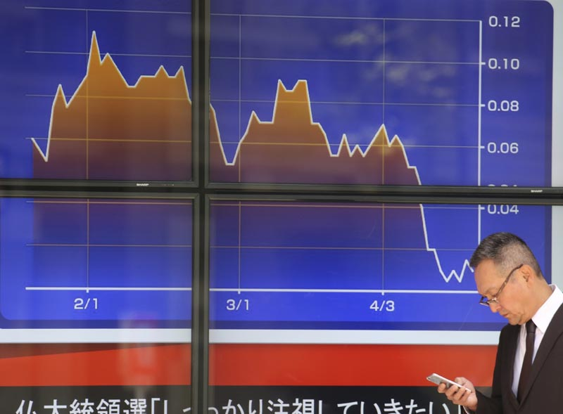 A man walks past an electronic stock board of a securities firm in Tokyo, Monday, April 24, 2017. Photo: AP