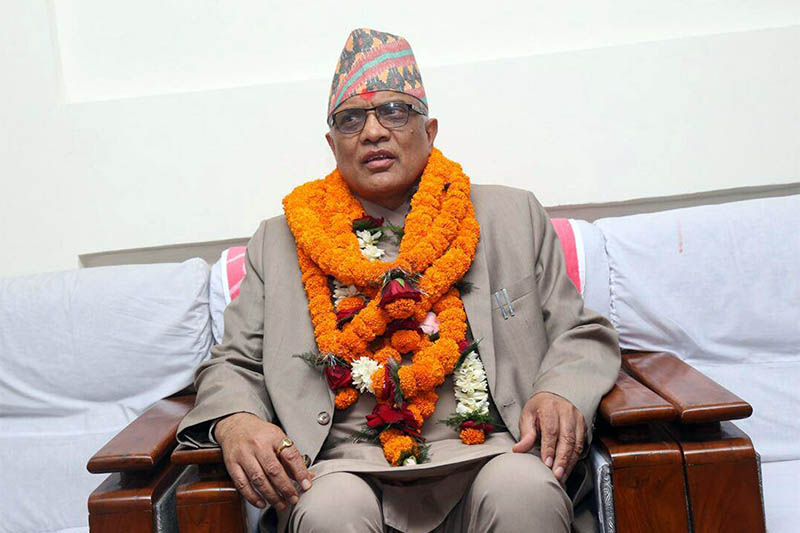 Supreme Court's senior most justice Gopal Prasad Prajuli assumes office as the Acting Chief Justice, in Kathmandu, on Sunday, April 30, 2017. Photo: RSS